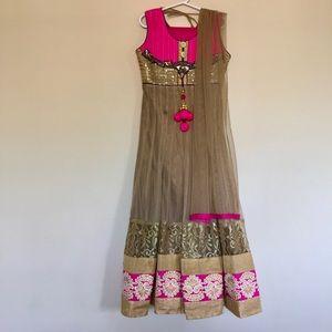 Kids 6-8Y Pink, Brown, Blue Indian Party Dress